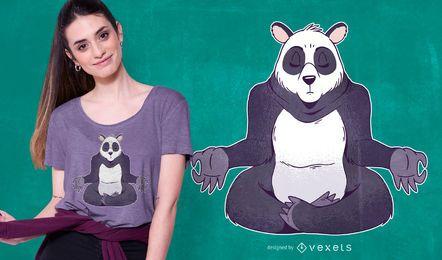 Diseño de camiseta panda meditando.