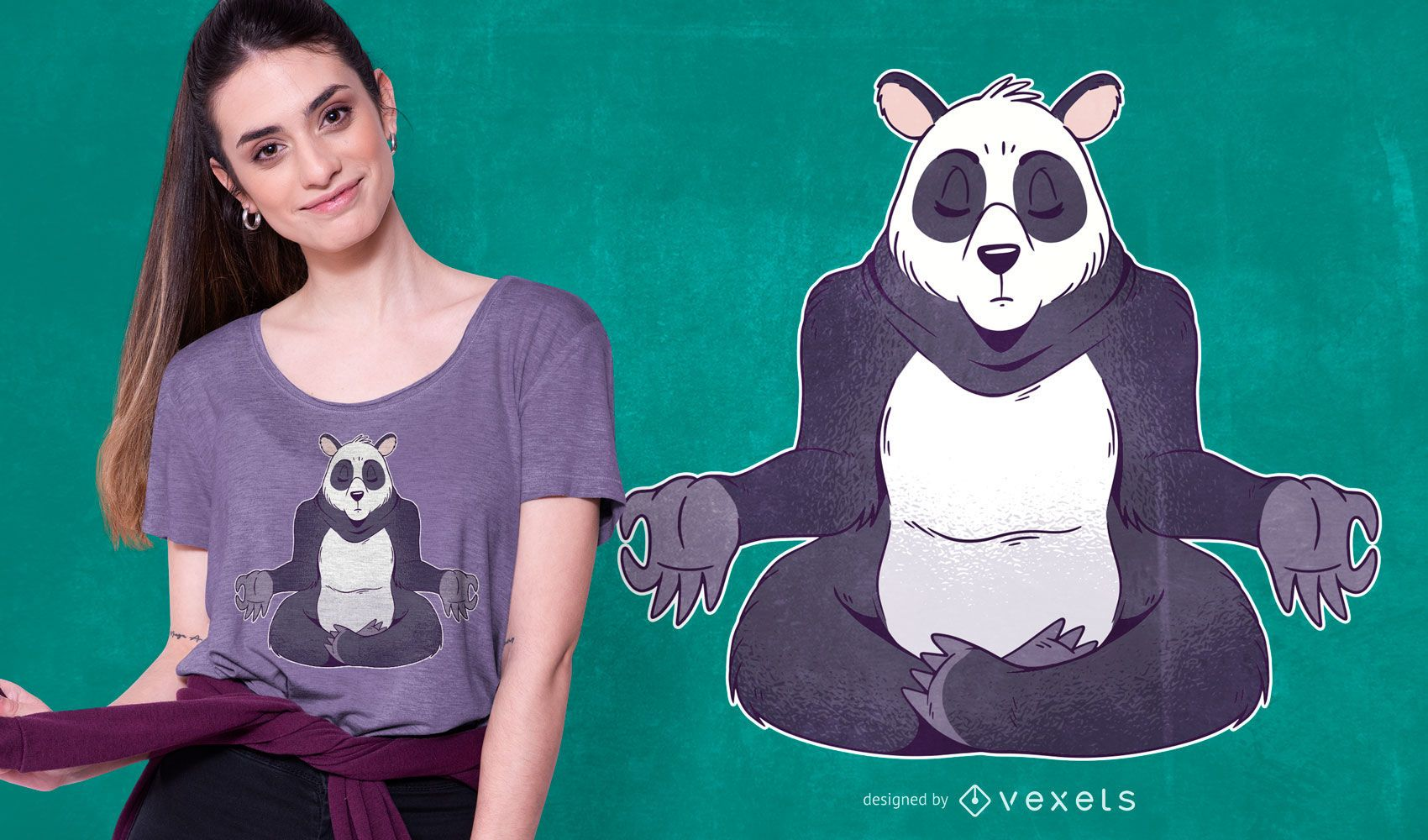 Panda meditating t-shirt design