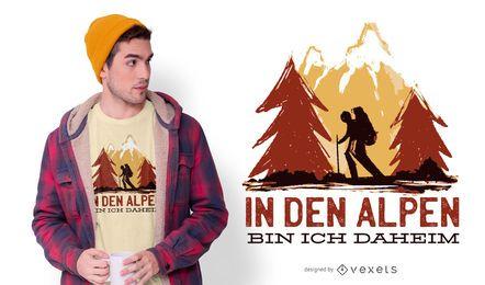 Caminhadas design de camiseta alemã