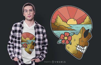 Diseño de camiseta de paisaje de calavera