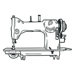 Dibujado a mano antigua máquina de coser