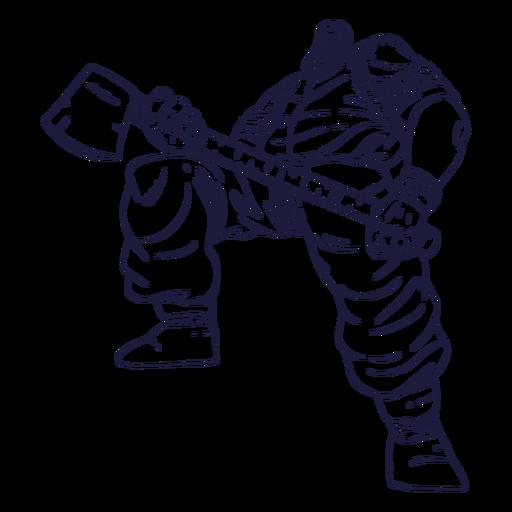 Dibujado a mano gran personaje de leñador
