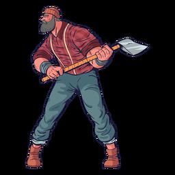 Cautious lumberjack character