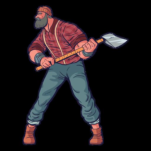 Cautious lumberjack character Transparent PNG