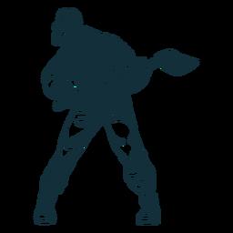 Cautious lumberjack character blue