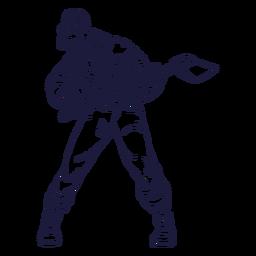 Cautious lumberjack character hand drawn