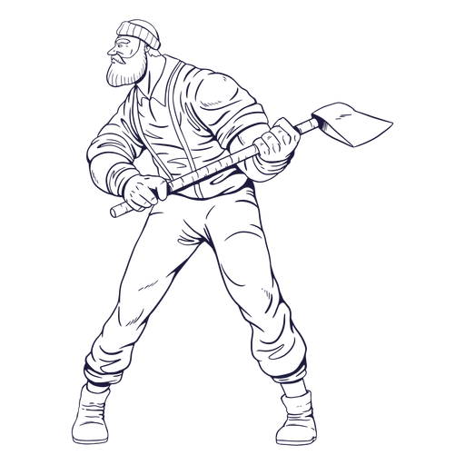 Cautious lumberjack character hand drawn Transparent PNG