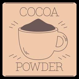 Línea de etiqueta de cacao en polvo