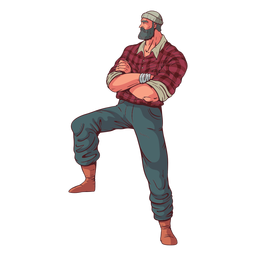 Crossed arms lumberjack character