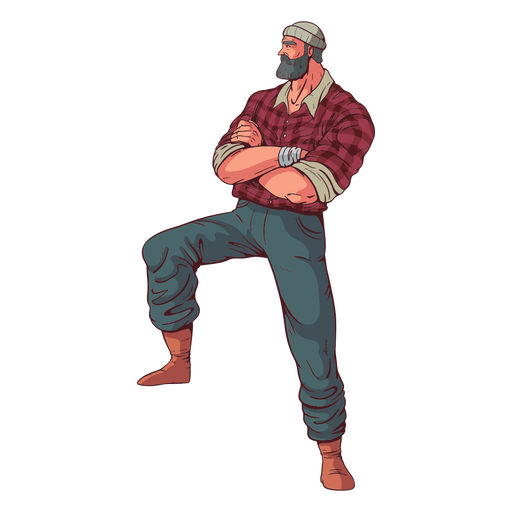 Crossed arms lumberjack character Transparent PNG