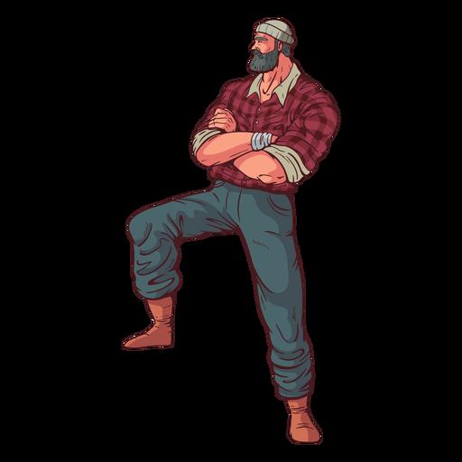 Crossed arms lumberjack character