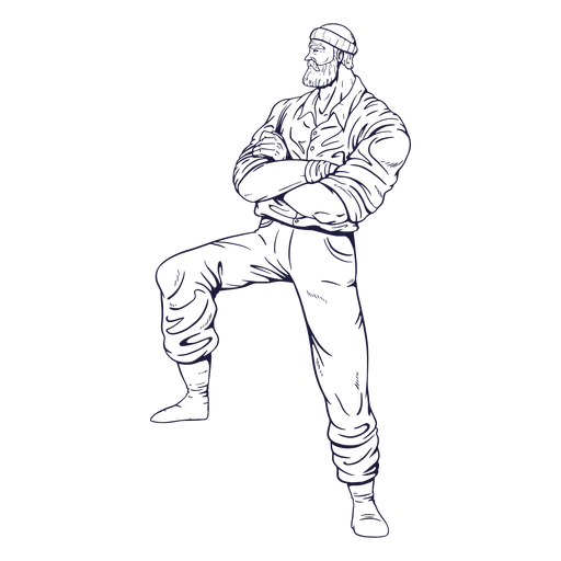 Crossed arms lumberjack character hand drawn Transparent PNG