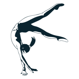 Female gymnast character black and white