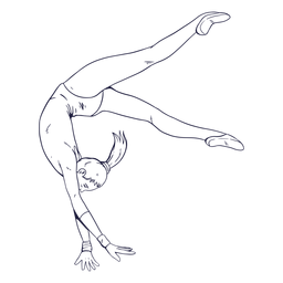 Female gymnast character hand drawn