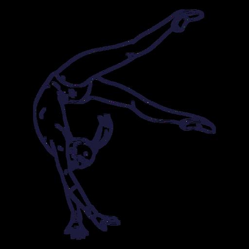 Dibujado a mano personaje de gimnasta femenina