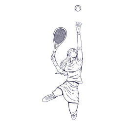 Female tennis player character hand drawn