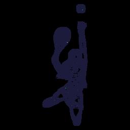 Mão de personagem de jogador de tênis feminino desenhada