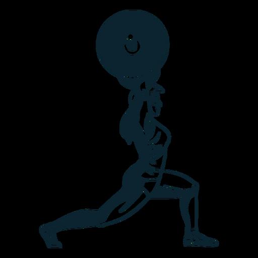 Personaje de levantador de pesas femenino en blanco y negro