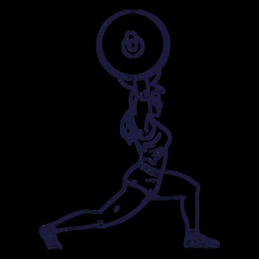 Dibujado a mano personaje de levantador de pesas femenino