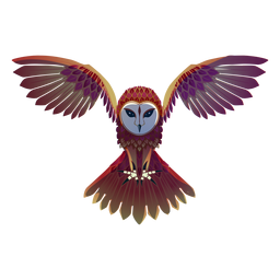 Flying barn owl illustration