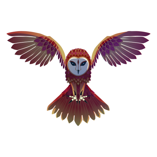 Flying barn owl illustration