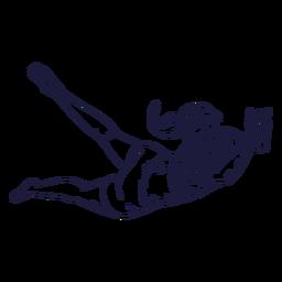 Dibujado a mano personaje de jugador de voleibol femenino