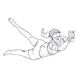 Personaje de jugador de voleibol femenino dibujado a mano