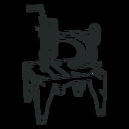 Dibujado a mano vieja máquina de coser vintage