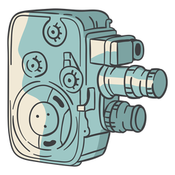 Cámara de cine vintage dibujada a mano