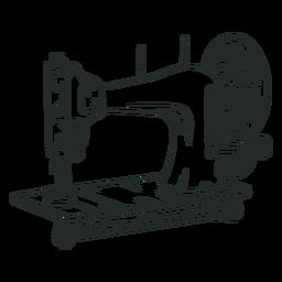 Máquina de coser vintage dibujada a mano