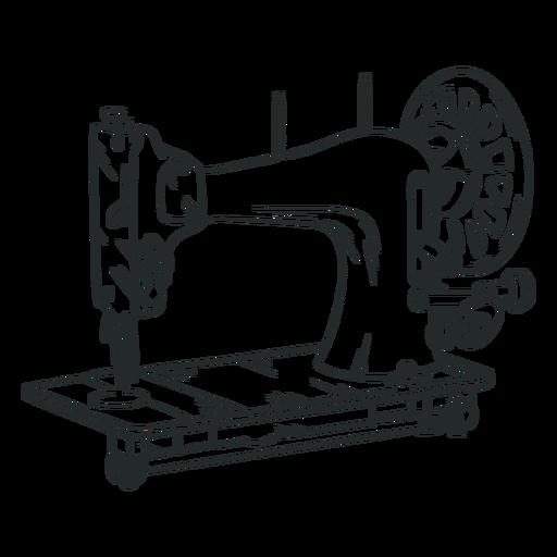 Hand drawn vintage sewing machine