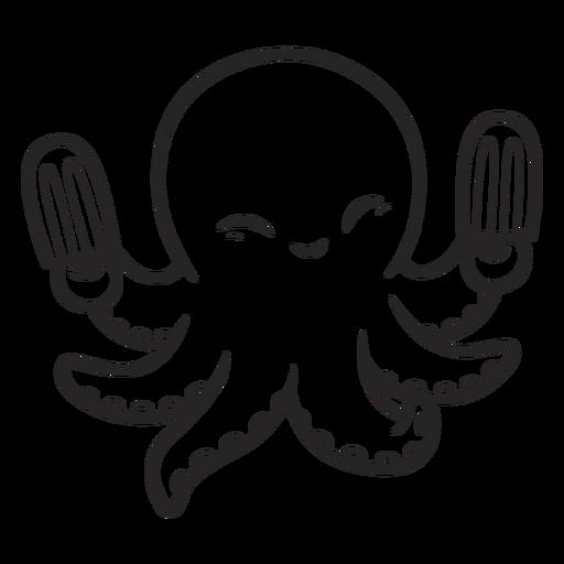 Happy octopus with icecream black Transparent PNG