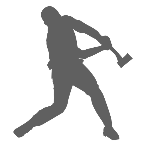 Lumberjack and axe silhouette Transparent PNG