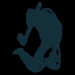Leñador en acción personaje azul