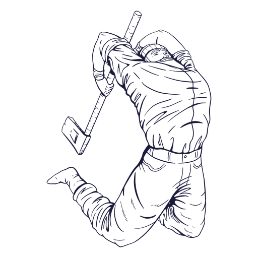 Lumberjack in action character hand drawn Transparent PNG