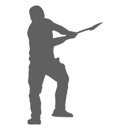 Lumberjack using axe silhouette