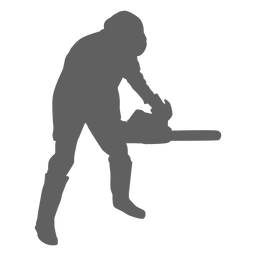 Lumberjack with chainsaw silhouette