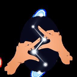 Ilustración de poder de manos mágicas