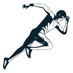 Personaje de atleta masculino blanco y negro