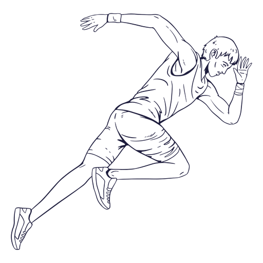 Dibujado a mano personaje de atleta masculino