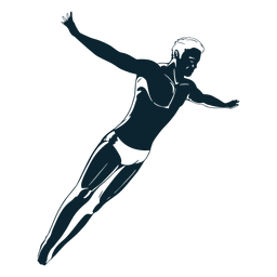 Male swimmer character black and white