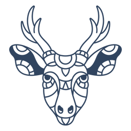 Mandala deer head stroke