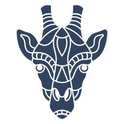 Cabeza de jirafa mandala azul