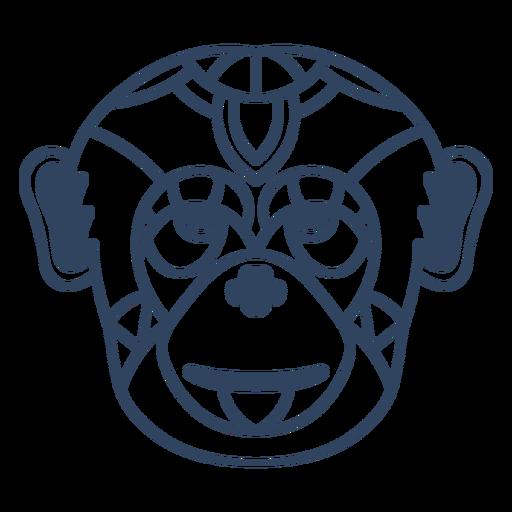 Mandala monkey head stroke
