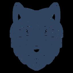 Mandala cabeza de lobo azul