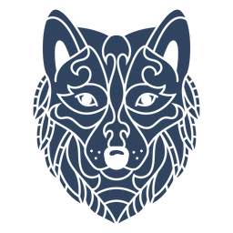 Mandala wolf head blue
