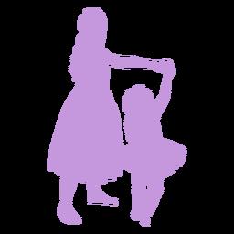 Madre e hija bailando silueta