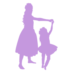 Mother and daughter dancing silhouette