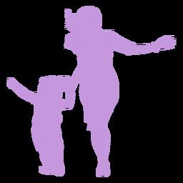 Madre e hija jugando silueta