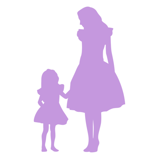 Silueta de madre e hija Transparent PNG